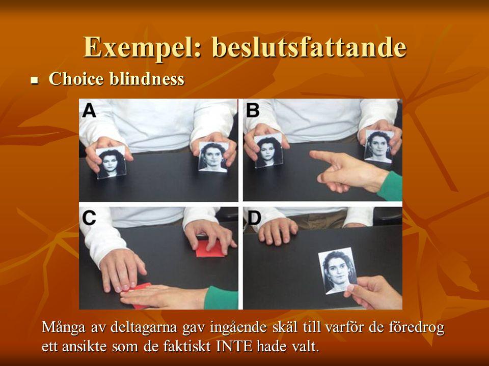 Exempel: beslutsfattande  Choice blindness Många av deltagarna gav ingående skäl till varför de föredrog ett ansikte som de faktiskt INTE hade valt.