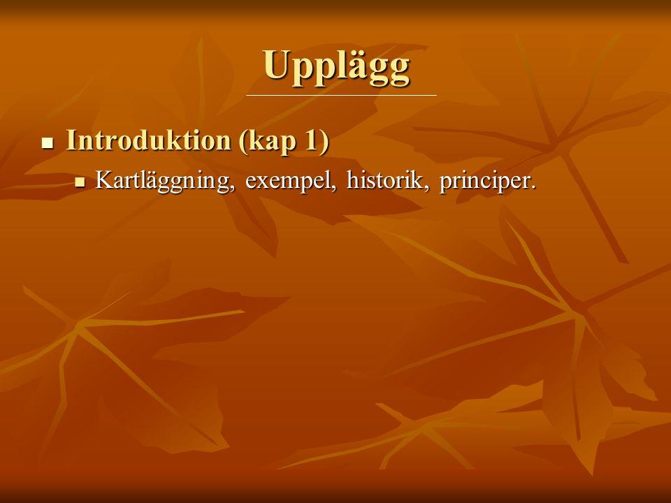 Upplägg  Introduktion (kap 1)  Kartläggning, exempel, historik, principer.