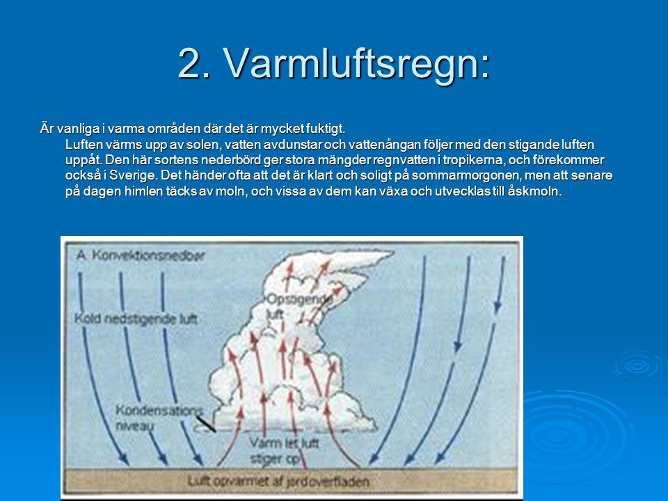 2. Varmluftsregn: Är vanliga i varma områden där det är mycket fuktigt. Luften värms upp av solen, vatten avdunstar och vattenångan följer med den sti
