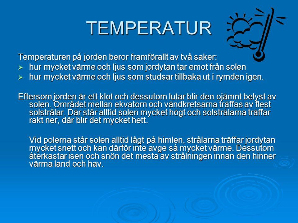 TEMPERATUR Temperaturen på jorden beror framförallt av två saker:  hur mycket värme och ljus som jordytan tar emot från solen  hur mycket värme och ljus som studsar tillbaka ut i rymden igen.