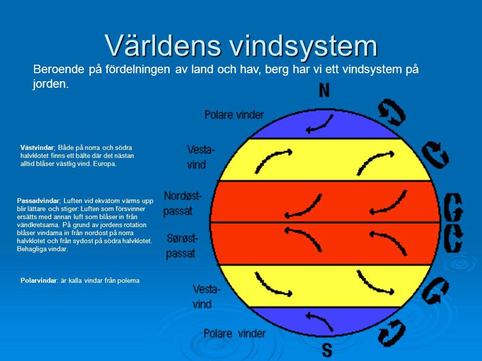Världens vindsystem Beroende på fördelningen av land och hav, berg har vi ett vindsystem på jorden. Passadvindar; Luften vid ekvatorn värms upp blir l