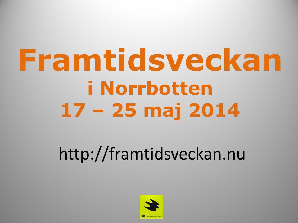 Framtidsveckan i Norrbotten 17 – 25 maj 2014 http://framtidsveckan.nu