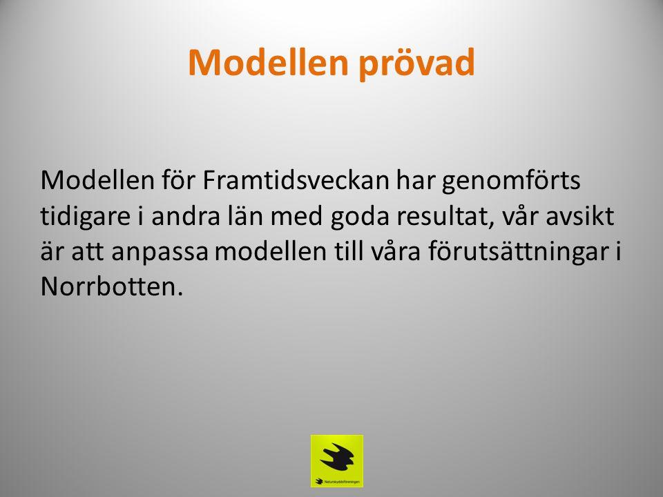 Modellen prövad Modellen för Framtidsveckan har genomförts tidigare i andra län med goda resultat, vår avsikt är att anpassa modellen till våra förutsättningar i Norrbotten.