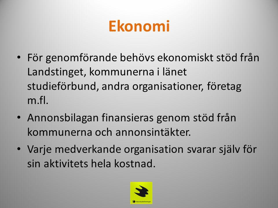 Ekonomi • För genomförande behövs ekonomiskt stöd från Landstinget, kommunerna i länet studieförbund, andra organisationer, företag m.fl. • Annonsbila