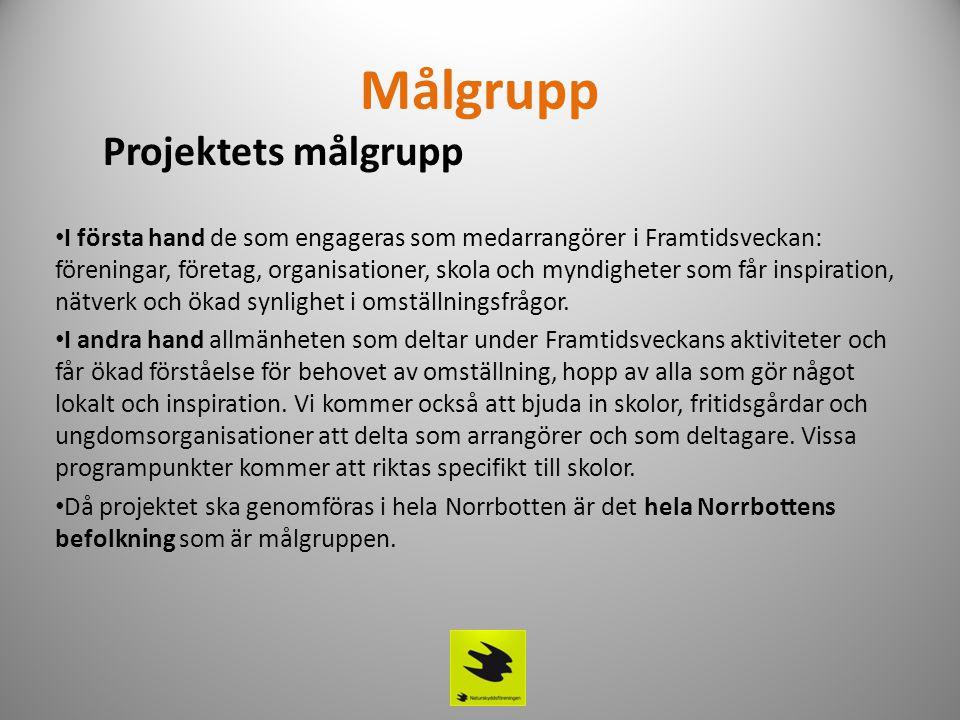 Målgrupp Projektets målgrupp • I första hand de som engageras som medarrangörer i Framtidsveckan: föreningar, företag, organisationer, skola och myndi