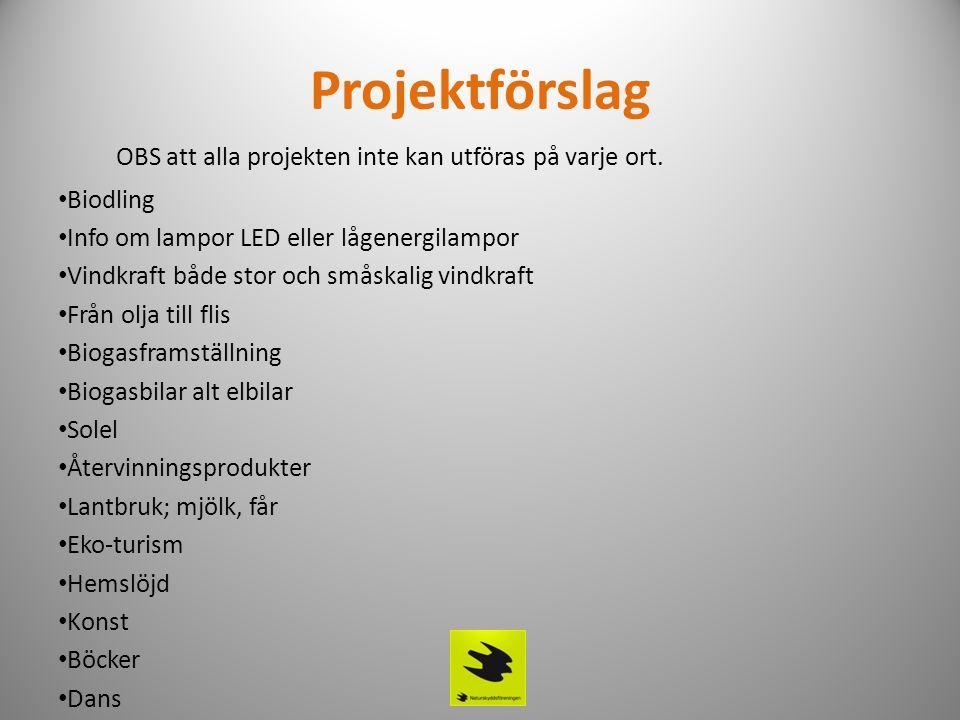 Projektförslag OBS att alla projekten inte kan utföras på varje ort. • Biodling • Info om lampor LED eller lågenergilampor • Vindkraft både stor och s
