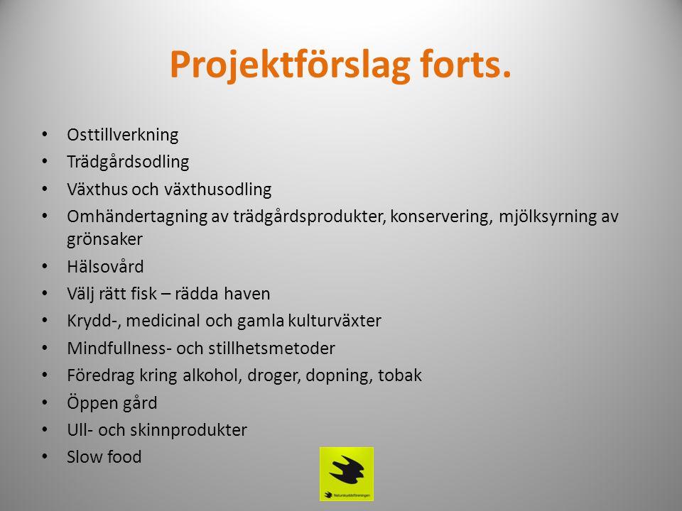 Projektförslag forts. • Osttillverkning • Trädgårdsodling • Växthus och växthusodling • Omhändertagning av trädgårdsprodukter, konservering, mjölksyrn