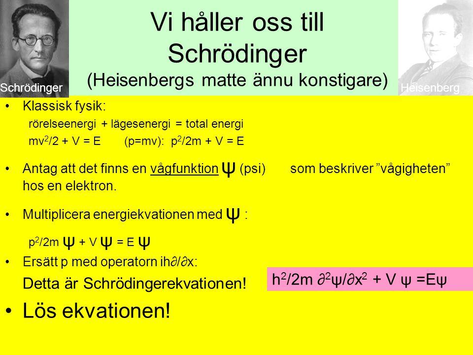 Schrödingerekvationen •Har bara lösningar för vissa energier •Matchar elektronernas energi i tillåtna banor •Löser Bohrs problem •Matchar de Broglies vågidéer h 2 /2m ∂ 2 ψ/∂x 2 + V ψ =Eψ
