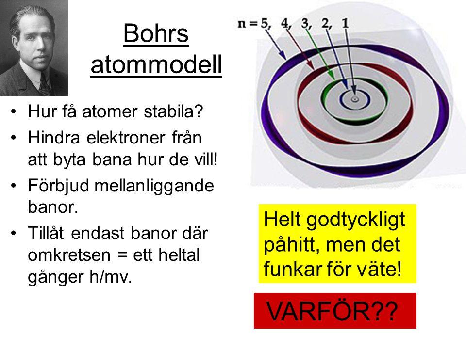 Bohrs atommodell •Hur få atomer stabila? •Hindra elektroner från att byta bana hur de vill! •Förbjud mellanliggande banor. •Tillåt endast banor där om