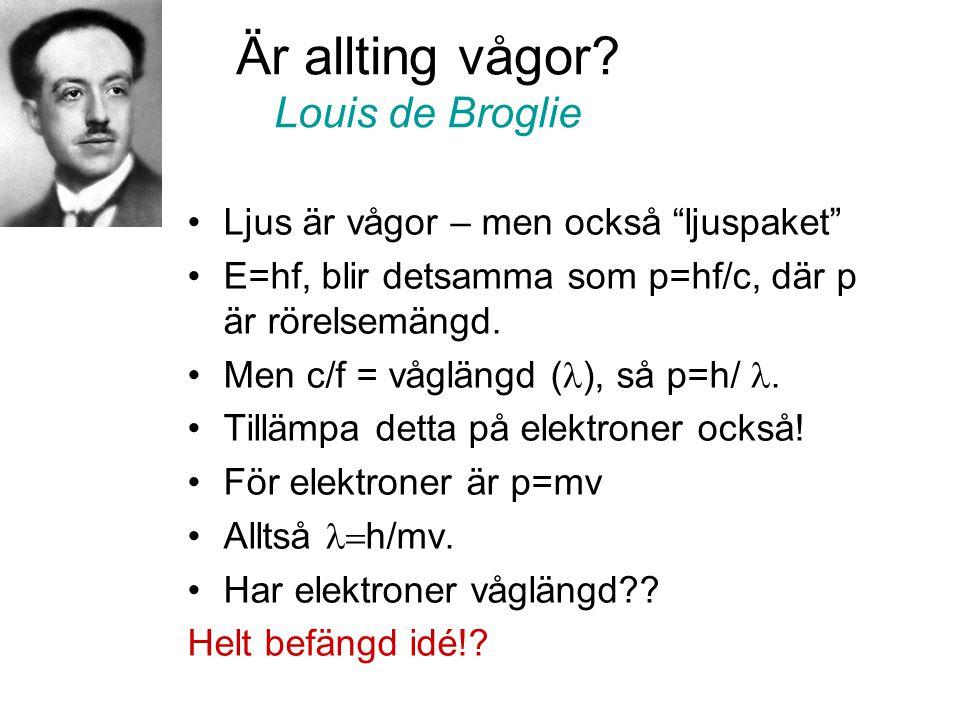 """Är allting vågor? Louis de Broglie •Ljus är vågor – men också """"ljuspaket"""" •E=hf, blir detsamma som p=hf/c, där p är rörelsemängd. •Men c/f = våglängd"""