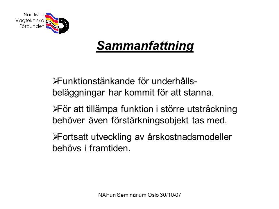 NAFun Seminarium Oslo 30/10-07 Sammanfattning  Funktionstänkande för underhålls- beläggningar har kommit för att stanna.  För att tillämpa funktion