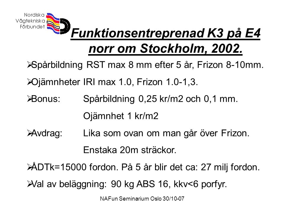 NAFun Seminarium Oslo 30/10-07 Funktionsentreprenad K3 på E4 norr om Stockholm, 2002.  Spårbildning RST max 8 mm efter 5 år, Frizon 8-10mm.  Ojämnhe