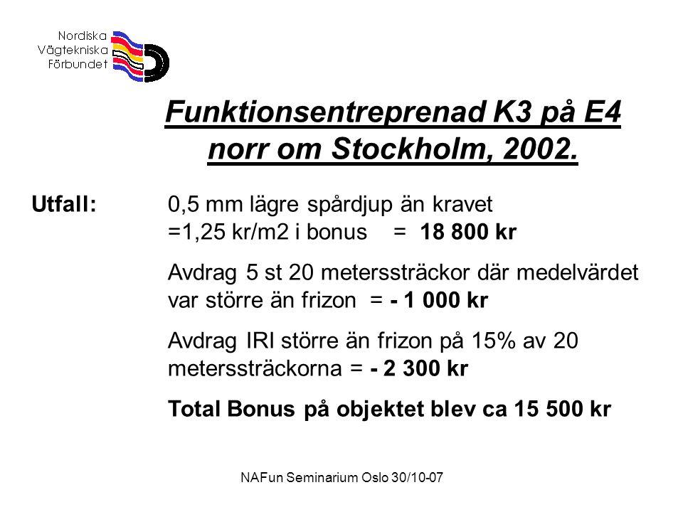 NAFun Seminarium Oslo 30/10-07 Funktionsentreprenad K3 på E4 norr om Stockholm, 2002.