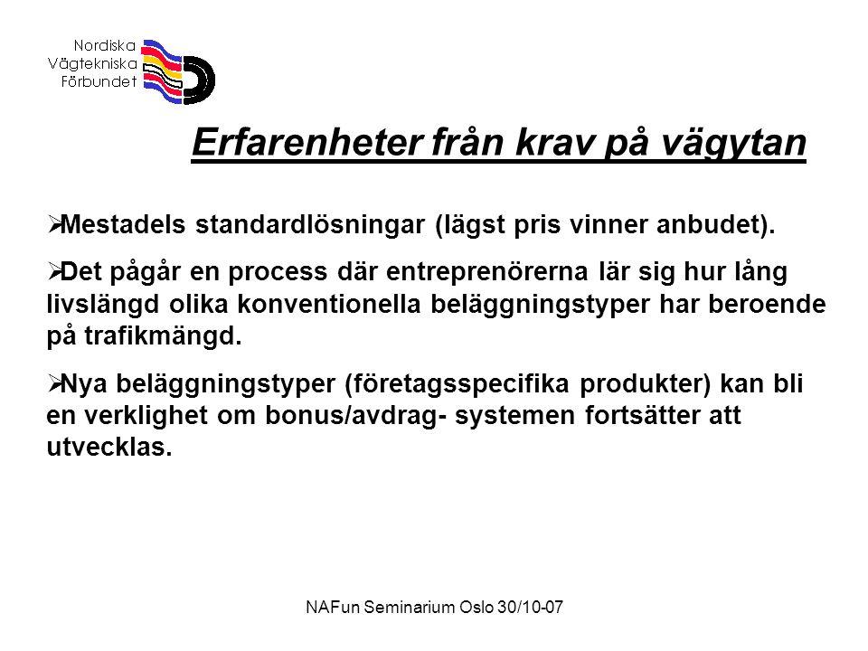NAFun Seminarium Oslo 30/10-07 Erfarenheter från krav på vägytan  Mestadels standardlösningar (lägst pris vinner anbudet).  Det pågår en process där