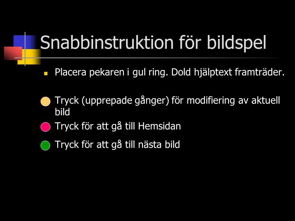 Snabbinstruktion för bildspel  Placera pekaren i gul ring. Dold hjälptext framträder.  Tryck (upprepade gånger) för modifiering av aktuell bild  Tr