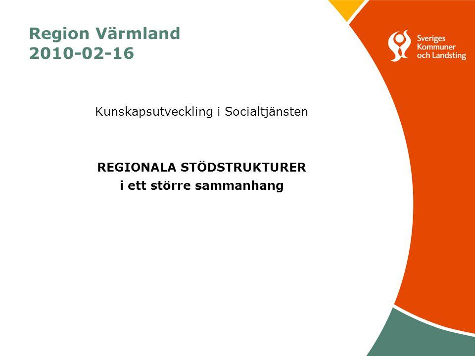 Region Värmland 2010-02-16 Kunskapsutveckling i Socialtjänsten REGIONALA STÖDSTRUKTURER i ett större sammanhang