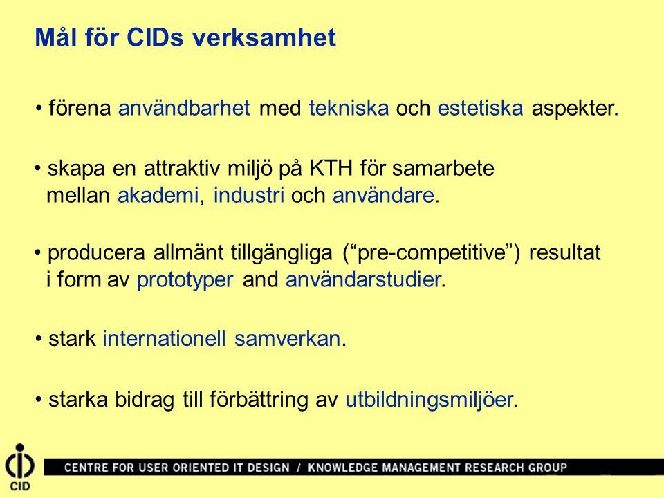 Mål för CIDs verksamhet • förena användbarhet med tekniska och estetiska aspekter. • skapa en attraktiv miljö på KTH för samarbete mellan akademi, ind