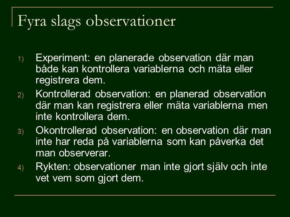 Fyra slags observationer 1) Experiment: en planerade observation där man både kan kontrollera variablerna och mäta eller registrera dem. 2) Kontroller