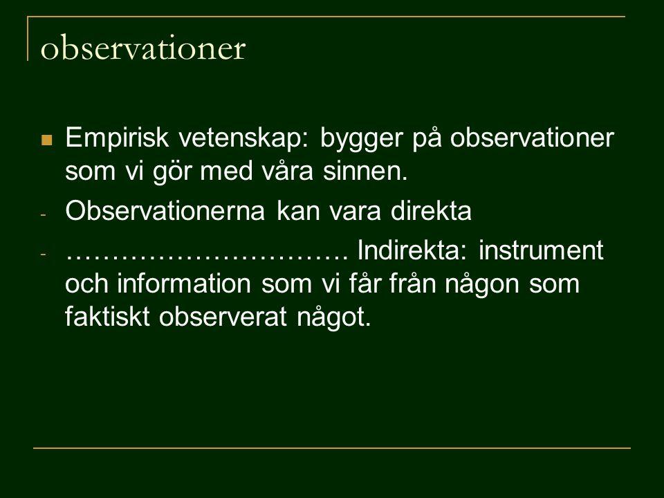 Empirisk vetenskap: bygger på observationer som vi gör med våra sinnen. - Observationerna kan vara direkta - …………………………. Indirekta: instrument och i