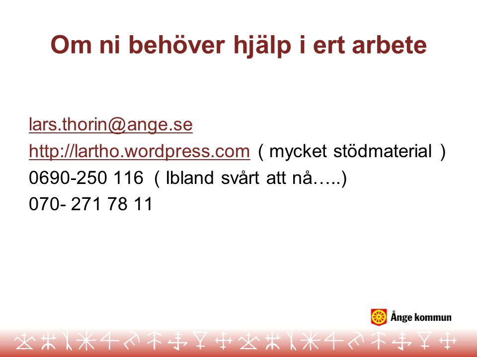 Om ni behöver hjälp i ert arbete lars.thorin@ange.se http://lartho.wordpress.comhttp://lartho.wordpress.com ( mycket stödmaterial ) 0690-250 116 ( Ibl