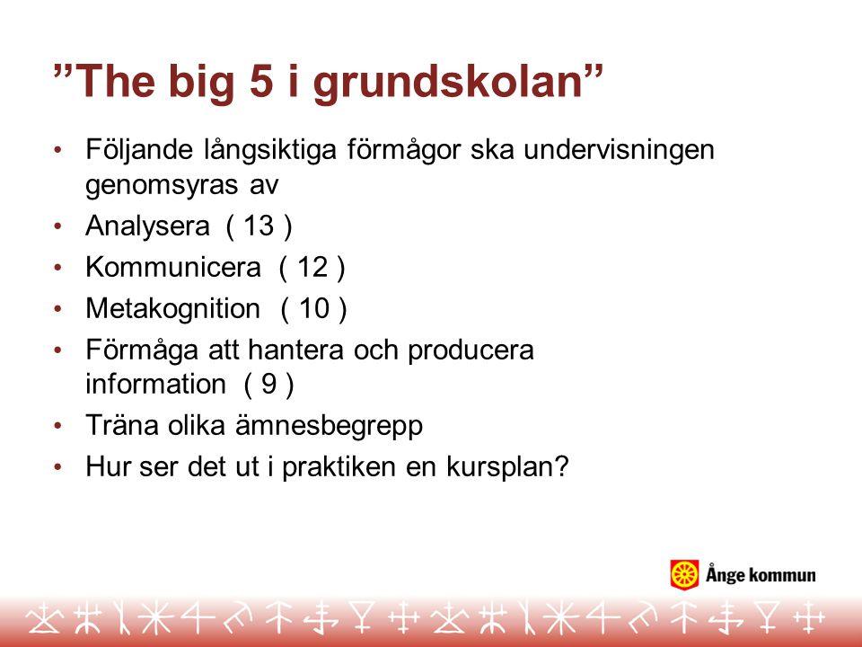 """""""The big 5 i grundskolan"""" • Följande långsiktiga förmågor ska undervisningen genomsyras av • Analysera( 13 ) • Kommunicera ( 12 ) • Metakognition ( 10"""
