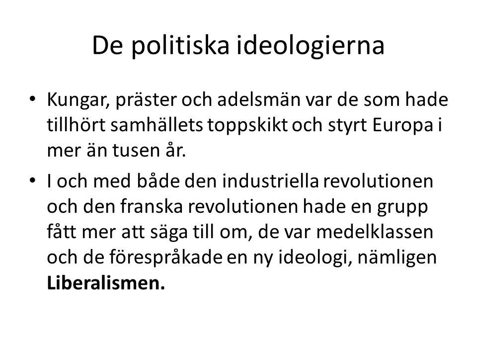 De politiska ideologierna • Kungar, präster och adelsmän var de som hade tillhört samhällets toppskikt och styrt Europa i mer än tusen år. • I och med