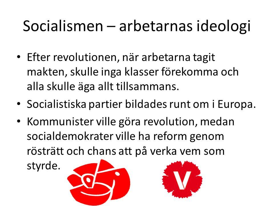 Socialismen – arbetarnas ideologi • Efter revolutionen, när arbetarna tagit makten, skulle inga klasser förekomma och alla skulle äga allt tillsammans