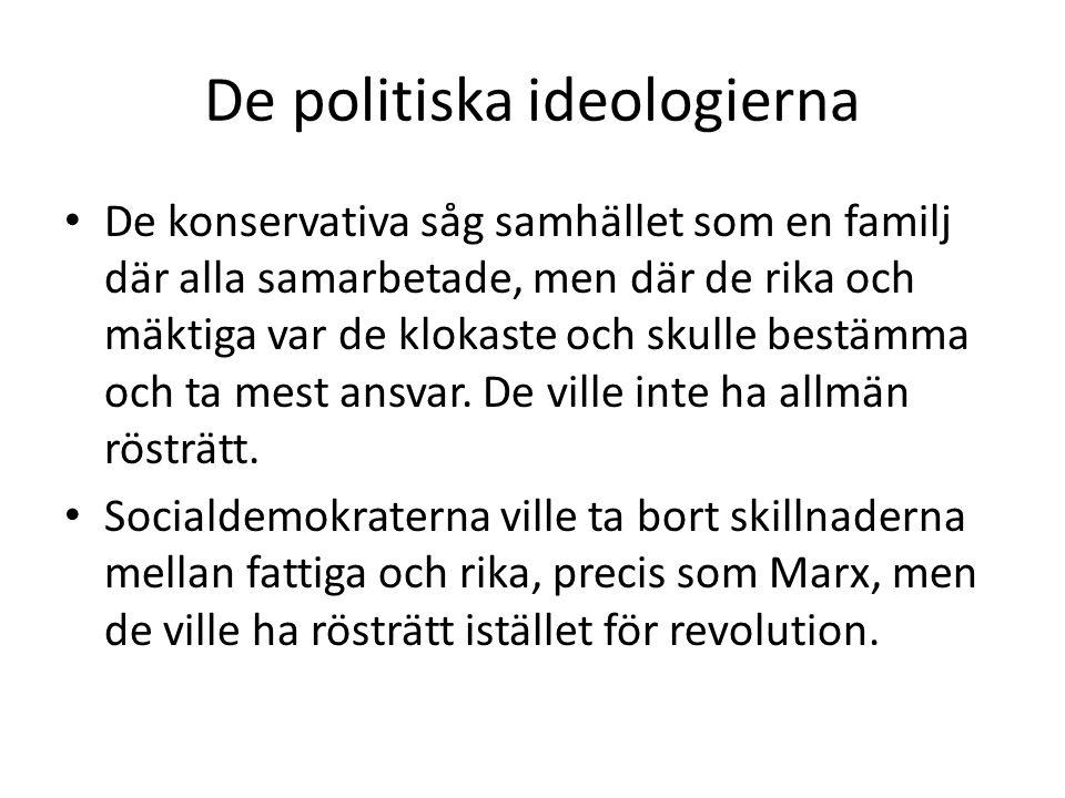 De politiska ideologierna • De konservativa såg samhället som en familj där alla samarbetade, men där de rika och mäktiga var de klokaste och skulle b