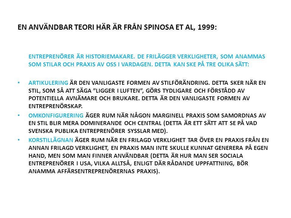 EN ANVÄNDBAR TEORI HÄR ÄR FRÅN SPINOSA ET AL, 1999: ENTREPRENÖRER ÄR HISTORIEMAKARE.