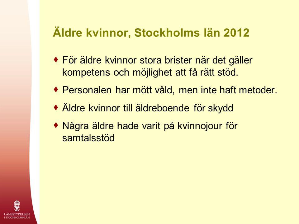 Äldre kvinnor, Stockholms län 2012  För äldre kvinnor stora brister när det gäller kompetens och möjlighet att få rätt stöd.  Personalen har mött vå