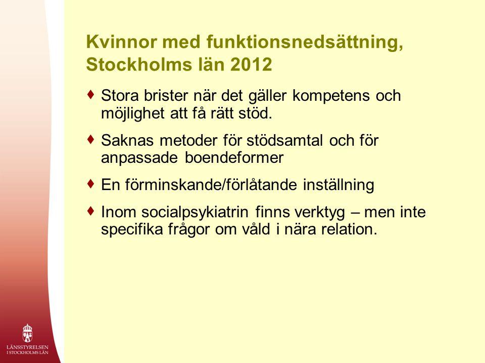 Kvinnor med funktionsnedsättning, Stockholms län 2012  Stora brister när det gäller kompetens och möjlighet att få rätt stöd.  Saknas metoder för st