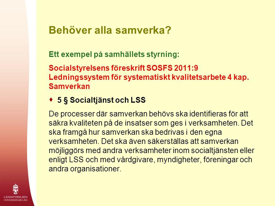 Behöver alla samverka? Ett exempel på samhällets styrning: Socialstyrelsens föreskrift SOSFS 2011:9 Ledningssystem för systematiskt kvalitetsarbete 4