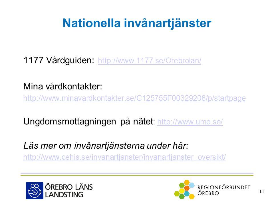 Nationella invånartjänster 1177 Vårdguiden: http://www.1177.se/Orebrolan/ http://www.1177.se/Orebrolan/ Mina vårdkontakter: http://www.minavardkontakt