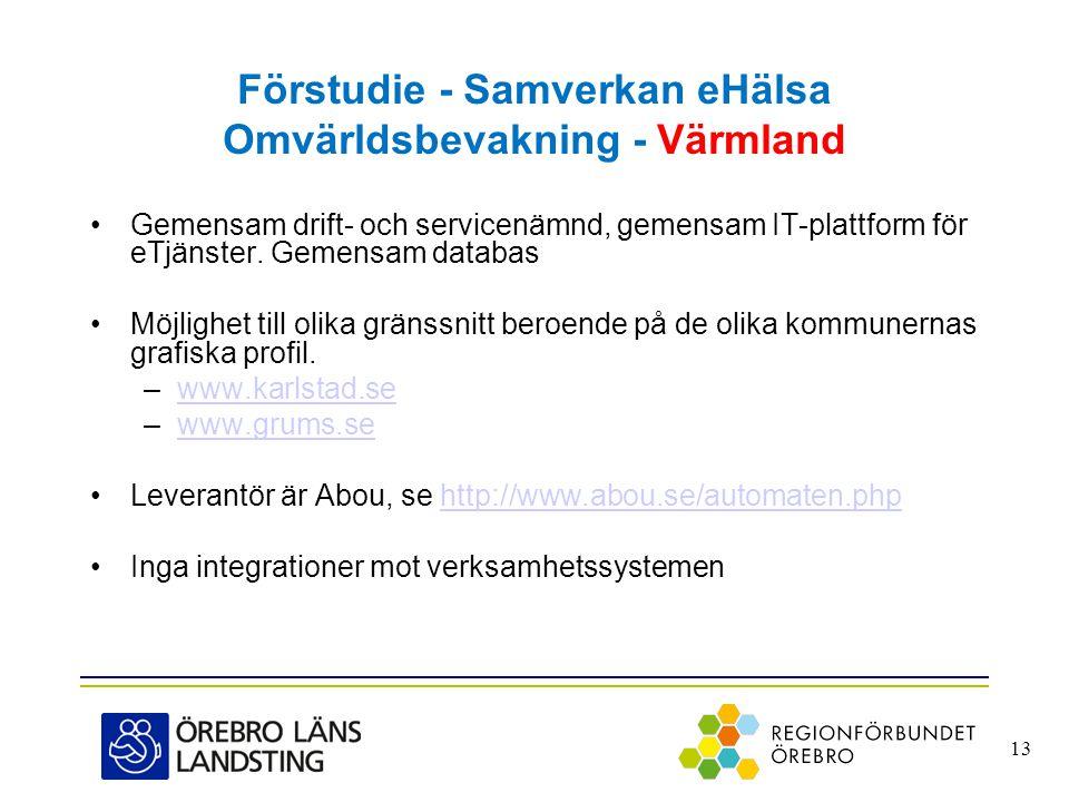 Förstudie - Samverkan eHälsa Omvärldsbevakning - Värmland •Gemensam drift- och servicenämnd, gemensam IT-plattform för eTjänster. Gemensam databas •Mö