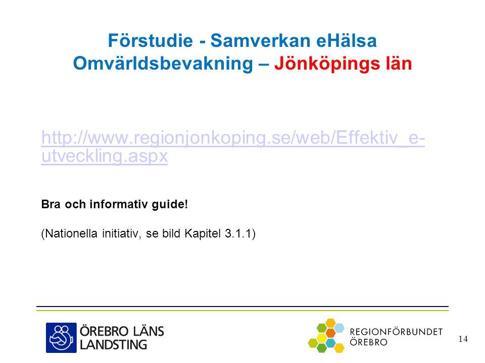 Förstudie - Samverkan eHälsa Omvärldsbevakning – Jönköpings län http://www.regionjonkoping.se/web/Effektiv_e- utveckling.aspx Bra och informativ guide