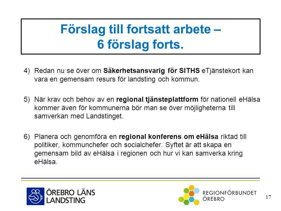 Förslag till fortsatt arbete – 6 förslag forts. 4)Redan nu se över om Säkerhetsansvarig för SITHS eTjänstekort kan vara en gemensam resurs för landsti
