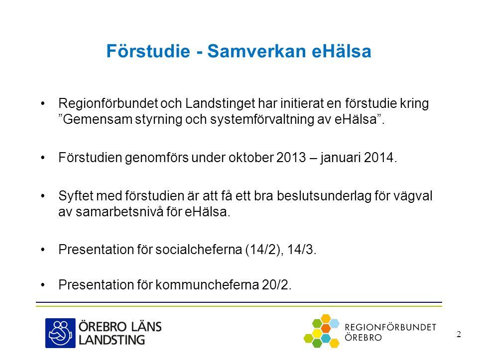 """Förstudie - Samverkan eHälsa •Regionförbundet och Landstinget har initierat en förstudie kring """"Gemensam styrning och systemförvaltning av eHälsa"""". •F"""