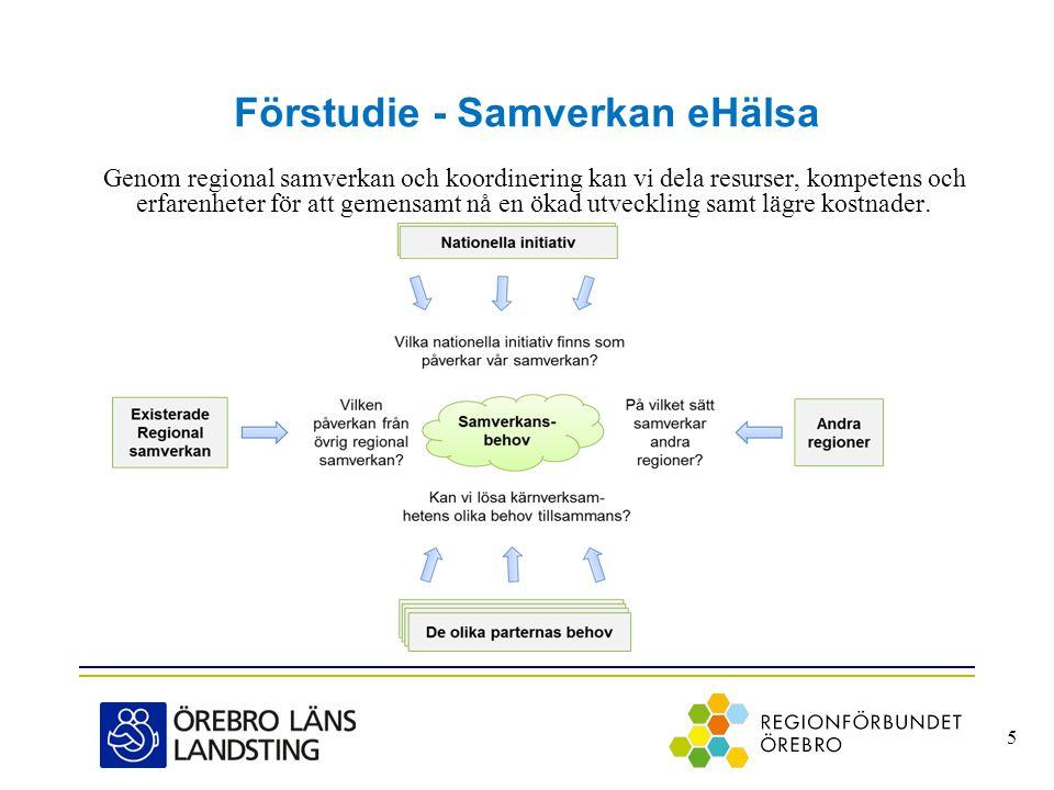Förstudie - Samverkan eHälsa Genom regional samverkan och koordinering kan vi dela resurser, kompetens och erfarenheter för att gemensamt nå en ökad u