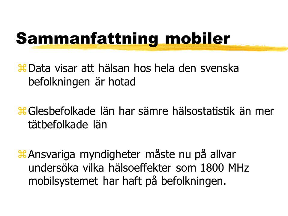 Sammanfattning mobiler zData visar att hälsan hos hela den svenska befolkningen är hotad zGlesbefolkade län har sämre hälsostatistik än mer tätbefolkade län zAnsvariga myndigheter måste nu på allvar undersöka vilka hälsoeffekter som 1800 MHz mobilsystemet har haft på befolkningen.