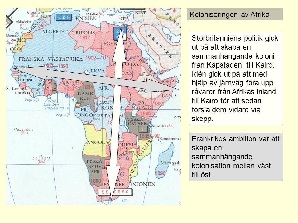 Koloniseringen av Afrika Redan 1884 hade Tyskland lagt sig i striden genom att sammankalla de nya stormakterna till ett möte, den s.k.