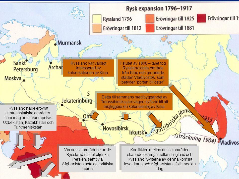 Ryssland hade erövrat centralasiatiska områden, som idag heter exempelvis Uzbekistan, Kazakhstan och Turkmeniskstan Via dessa områden kunde Ryssland n