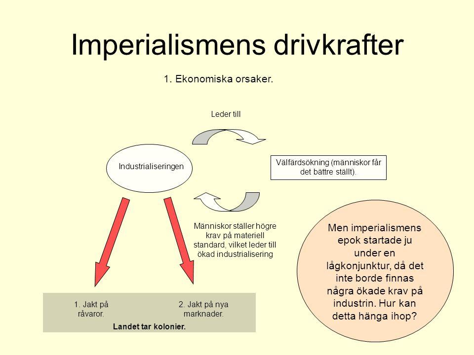 Imperialismens drivkrafter 1. Ekonomiska orsaker. Industrialiseringen Välfärdsökning (människor får det bättre ställt). Leder till Människor ställer h