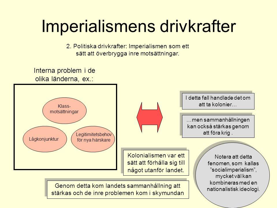 Imperialismens drivkrafter 2. Politiska drivkrafter: Imperialismen som ett sätt att överbrygga inre motsättningar. Interna problem i de olika länderna