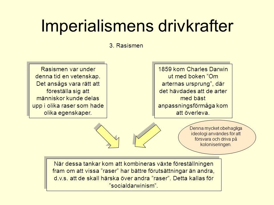 Imperialismens drivkrafter 3. Rasismen Rasismen var under denna tid en vetenskap. Det ansågs vara rätt att föreställa sig att människor kunde delas up