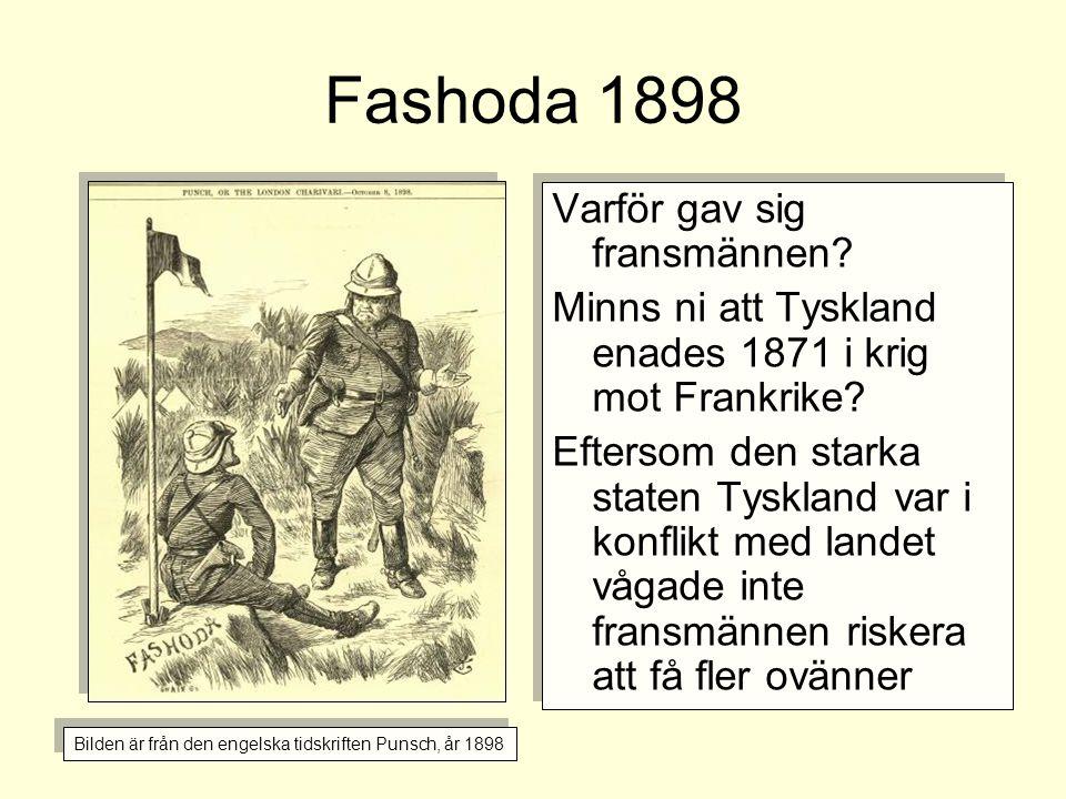 Fashoda 1898 Varför gav sig fransmännen? Minns ni att Tyskland enades 1871 i krig mot Frankrike? Eftersom den starka staten Tyskland var i konflikt me