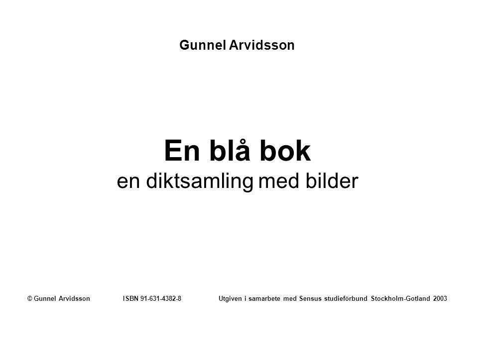 Gunnel Arvidsson En blå bok en diktsamling med bilder © Gunnel ArvidssonISBN 91-631-4382-8Utgiven i samarbete med Sensus studieförbund Stockholm-Gotla