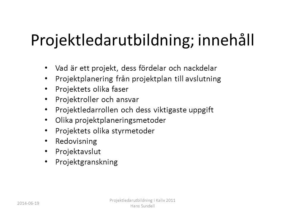 Projektledningskoncept • Behovsanalys - man analyserar organisationen, projekt, projektmetod och projektledarbeteende för att kunna säkerställa vilket utbildningsbehov som finns • Projektledningsstrategi - utveckla en strategisk plan för hur en organisations projektledning ska formas, hur man ska nå målet med utbildningen, hur utbildningen ska följas upp och hur projektledningsrutiner ska införas.