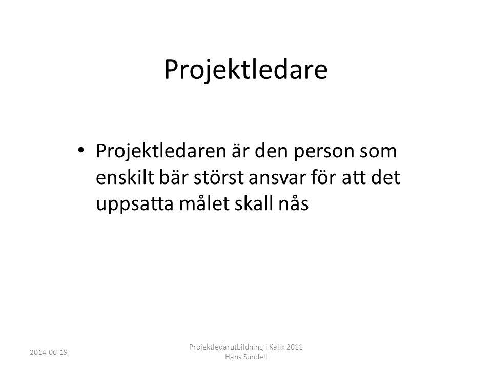 Projektledare • Projektledaren är den person som enskilt bär störst ansvar för att det uppsatta målet skall nås 2014-06-19 Projektledarutbildning i Kalix 2011 Hans Sundell