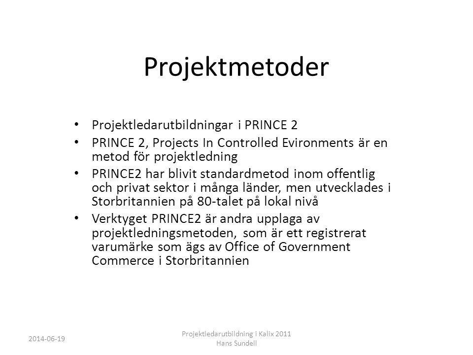 Projektmetoder • Projektledarutbildningar i PRINCE 2 • PRINCE 2, Projects In Controlled Evironments är en metod för projektledning • PRINCE2 har blivit standardmetod inom offentlig och privat sektor i många länder, men utvecklades i Storbritannien på 80-talet på lokal nivå • Verktyget PRINCE2 är andra upplaga av projektledningsmetoden, som är ett registrerat varumärke som ägs av Office of Government Commerce i Storbritannien 2014-06-19 Projektledarutbildning i Kalix 2011 Hans Sundell