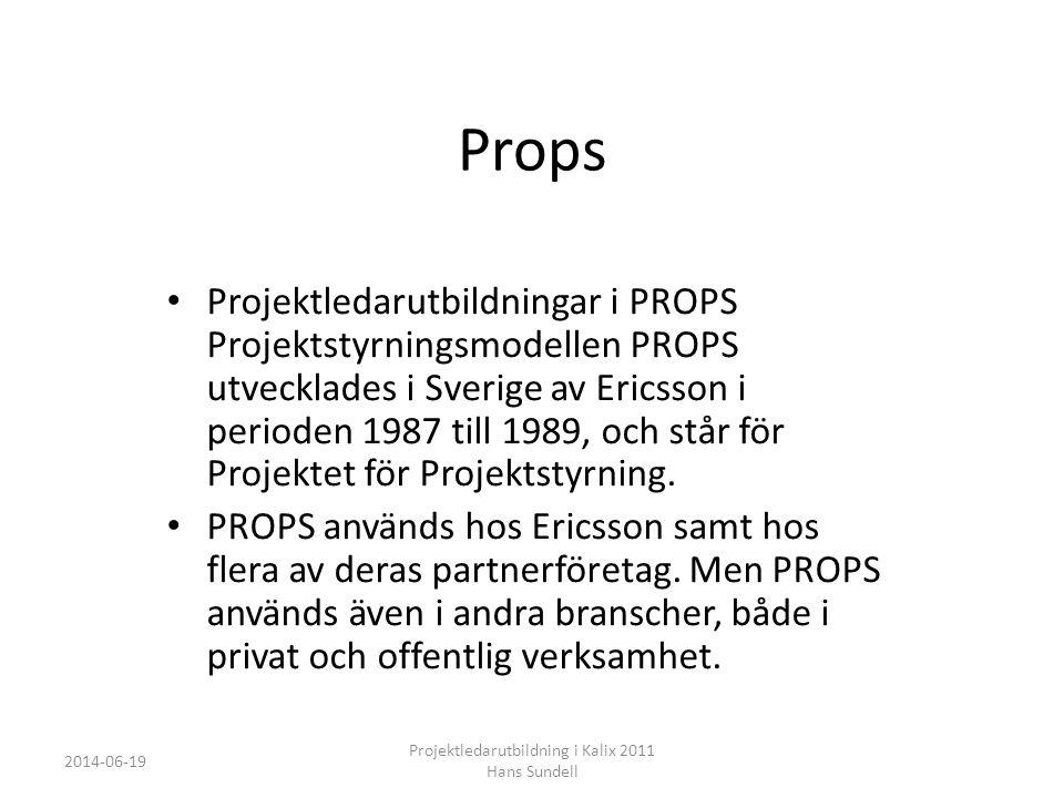 Props • Projektledarutbildningar i PROPS Projektstyrningsmodellen PROPS utvecklades i Sverige av Ericsson i perioden 1987 till 1989, och står för Projektet för Projektstyrning.